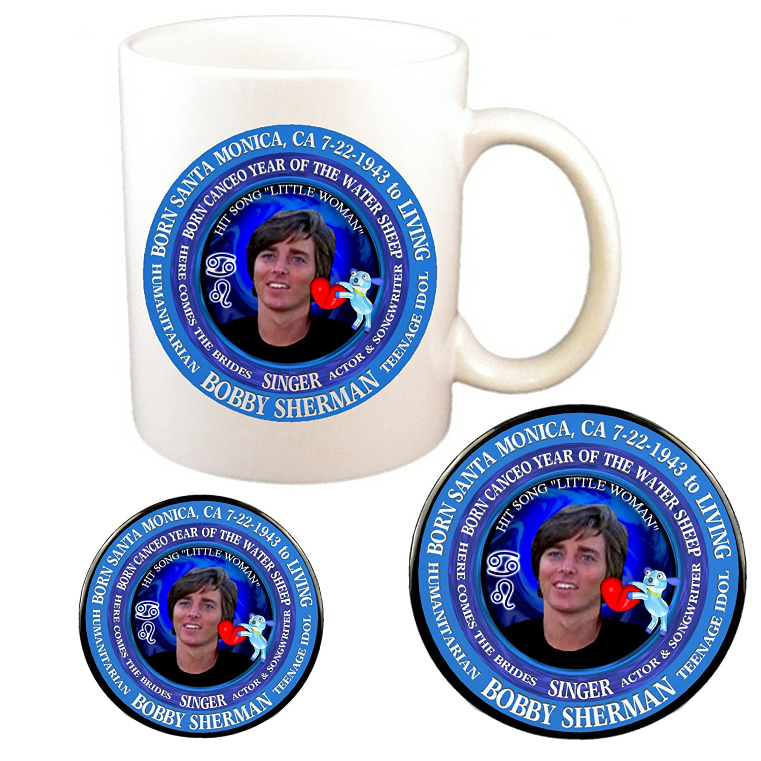 Amazon com | Bobby Sherman 70's Singer Cup + Magnet + Pin