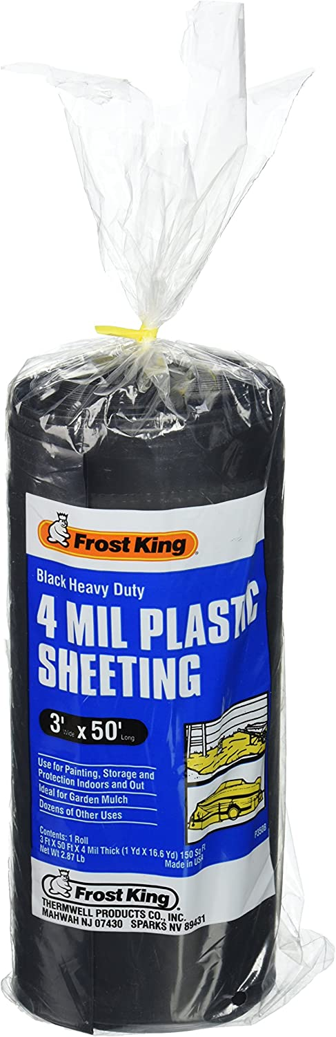 Frost King 350B Polyethylene Sheeting, 3ft. X 50 ft. x 4 mil, 3' x 50', Black - Weed Barrier Fabric -