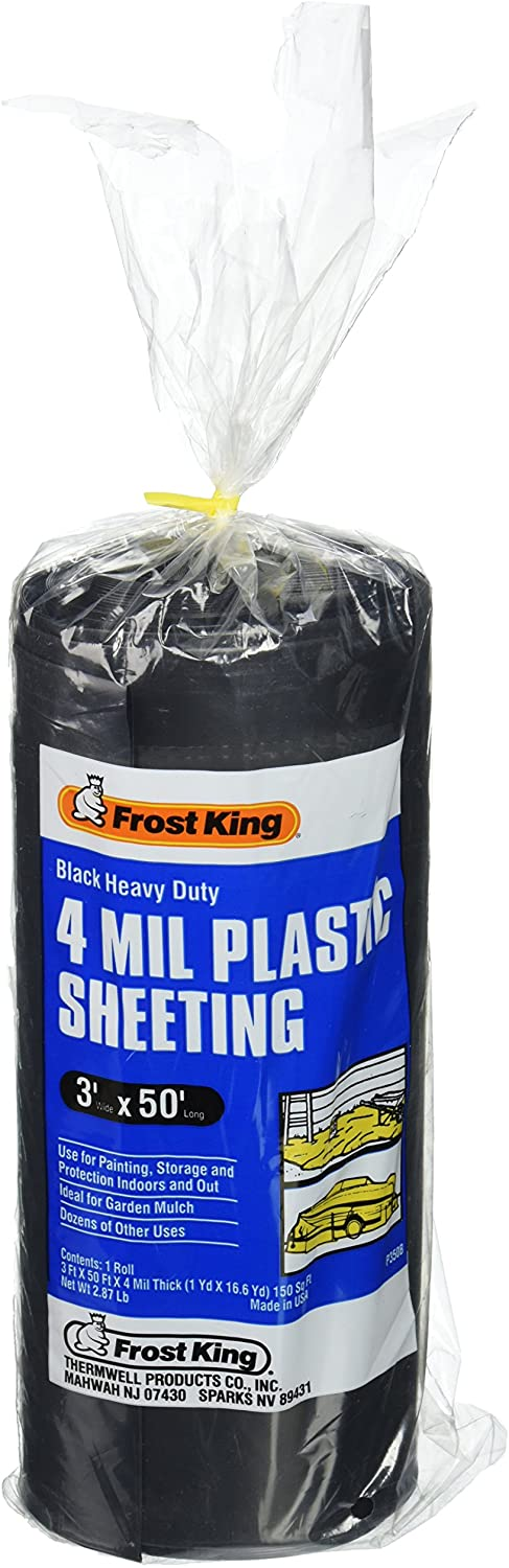 Frost King 350B Polyethylene Sheeting, 3ft. X 50 ft. x 4 mil, 3' x 50', Black