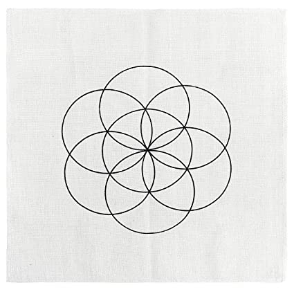 Jovivi Printed Crystal Grids Cloth Seed of Life Sacred Geometry Altar