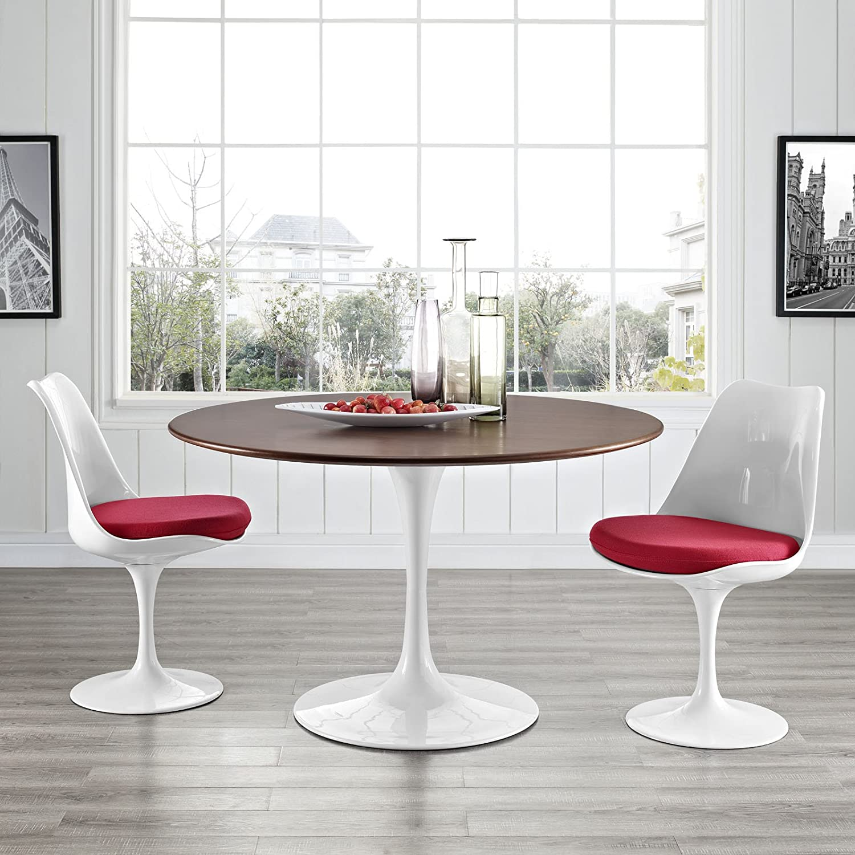 Amazoncom Modway Lippa Walnut Dining Table In Walnut Tables - Walnut tulip dining table