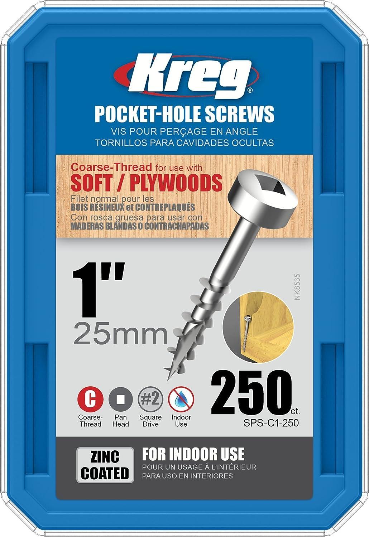 250 Count Kreg SPS-C1-250 1 Pan Head Coarse Thread Number 7 Zinc Coated Pocket Hole Screws