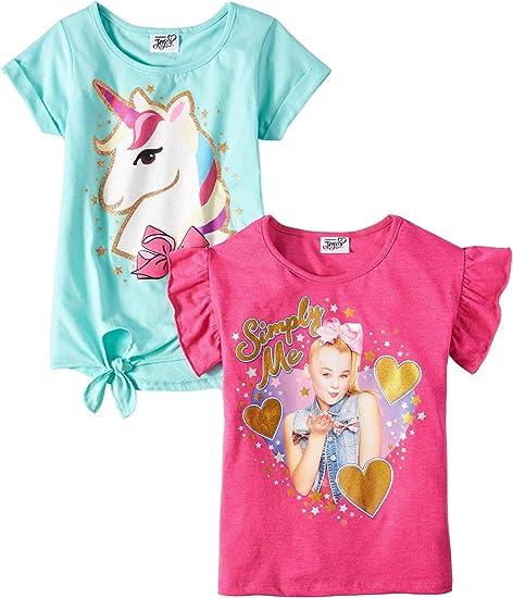 2 Piece Set Girls Unicorn Print Leggings and T-shirt Short Sleeve Top