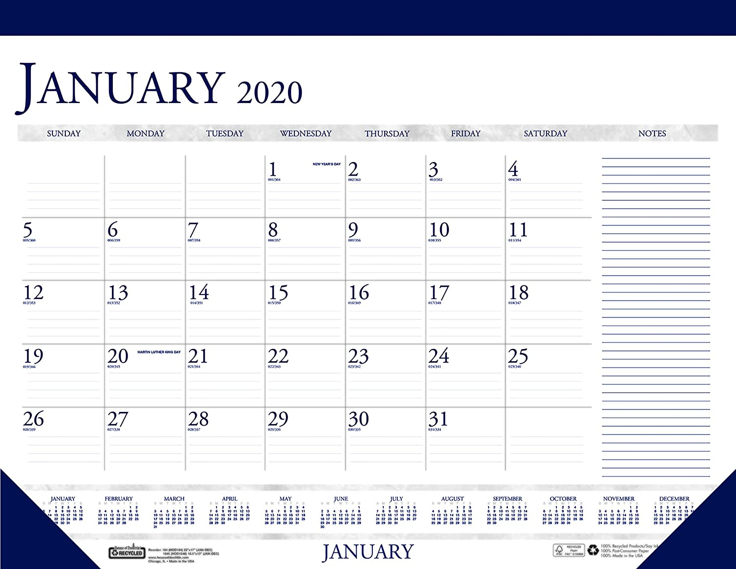 House of Doolittle 2020 Monthly Desk Pad Calendar, Classic with Notes Section, 22 x 17 Inches, January - December (HOD164-20)