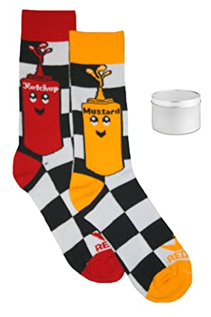 Red Lion Un Set de regalo Big Girls Ketchup y mostaza Mismatched tripulación calcetines,