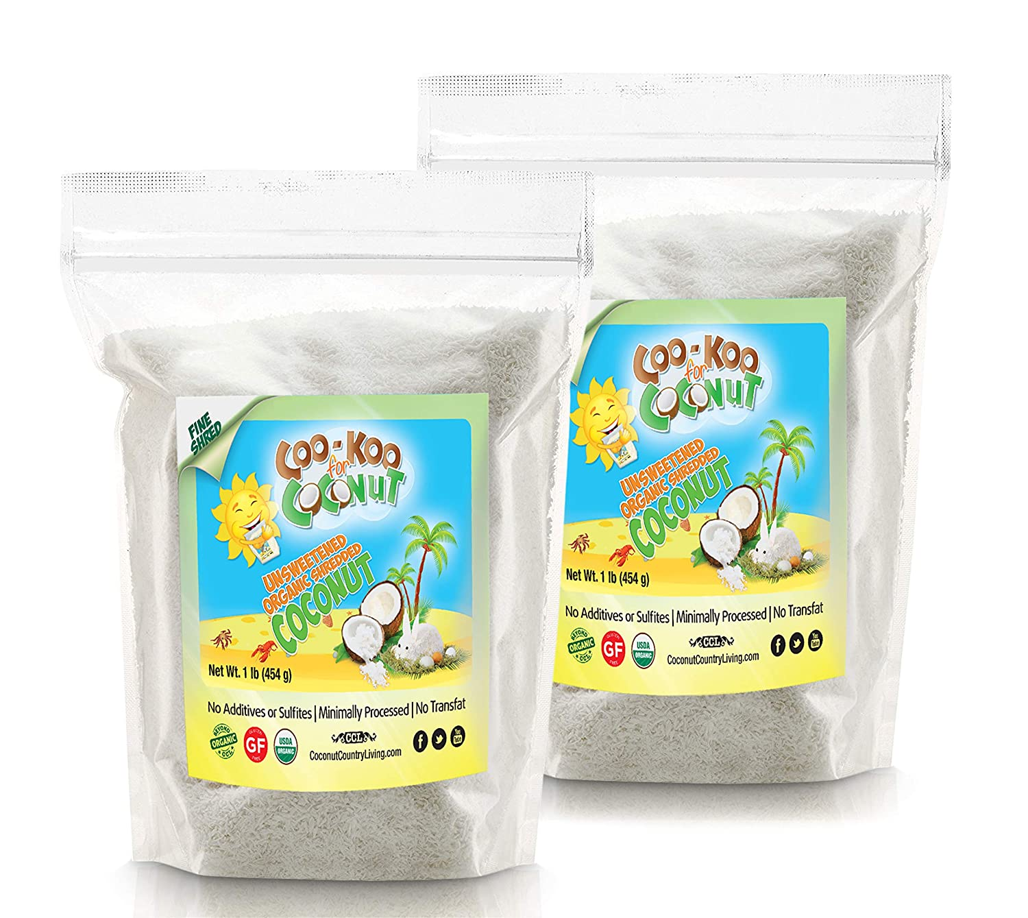 Organic Shredded Coconut Unsweetened, 2 lbs, Fine Shred, Great for Coconut Milk, Keto and Paleo Treats (1 lb pack of 2)