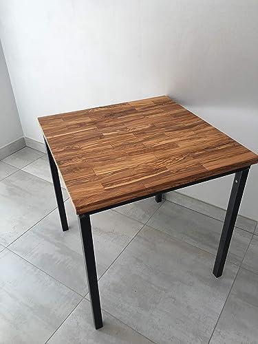 Mesa 70x70 en hierro/madera de olivo.: Amazon.es: Handmade