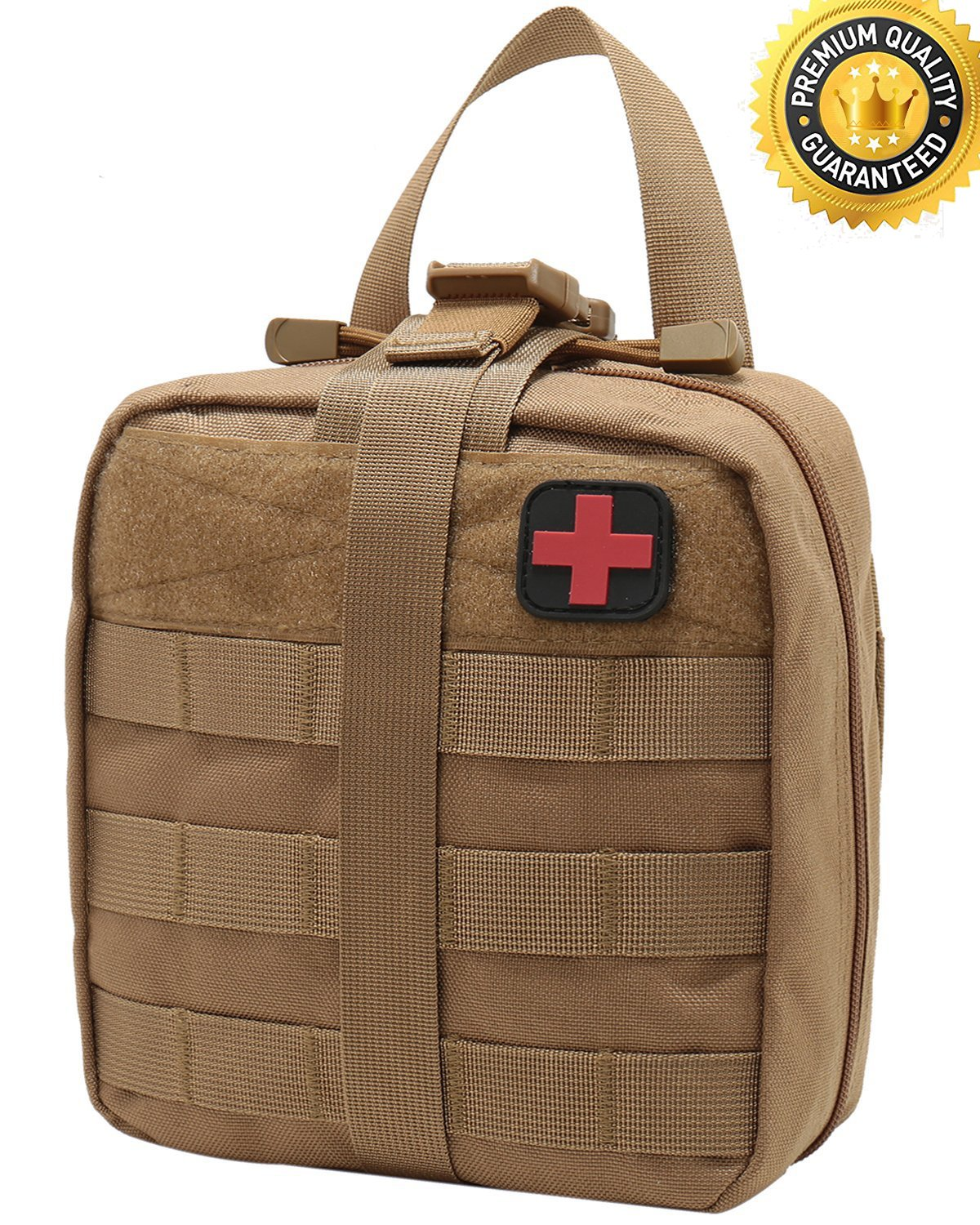 Carlebben Tactical MOLLE Rip Away EMT Medical First Aid IFAK Utility Pouch 1000D Nylon (Brown)