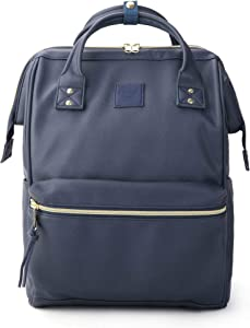 Kah&Kee Leather Backpack Diaper Bag with Laptop Compartment Travel School for Women Man (Navy, Large)