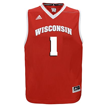 345f2184994 adidas NCAA Wisconsin Badgers Youth Boys Basketball Jersey (Youth Small)