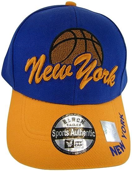 New York City Basketball Men s Curved Brim Adjustable Baseball Cap  (Royal Orange) at Amazon Men s Clothing store  53639409d06