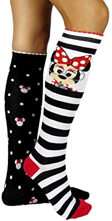 151d27e8e18 Disney Minnie Mouse Mismatched Knee High Socks Multi-color at Amazon ...
