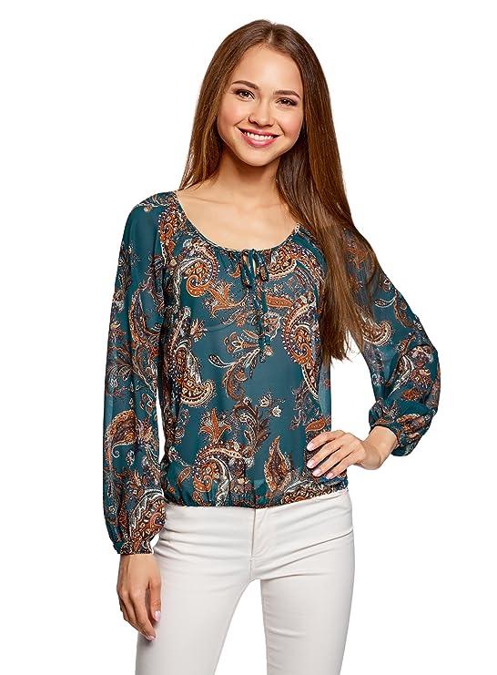 oodji Collection Mujer Blusa Estampada con Lazos: Amazon.es: Ropa y accesorios