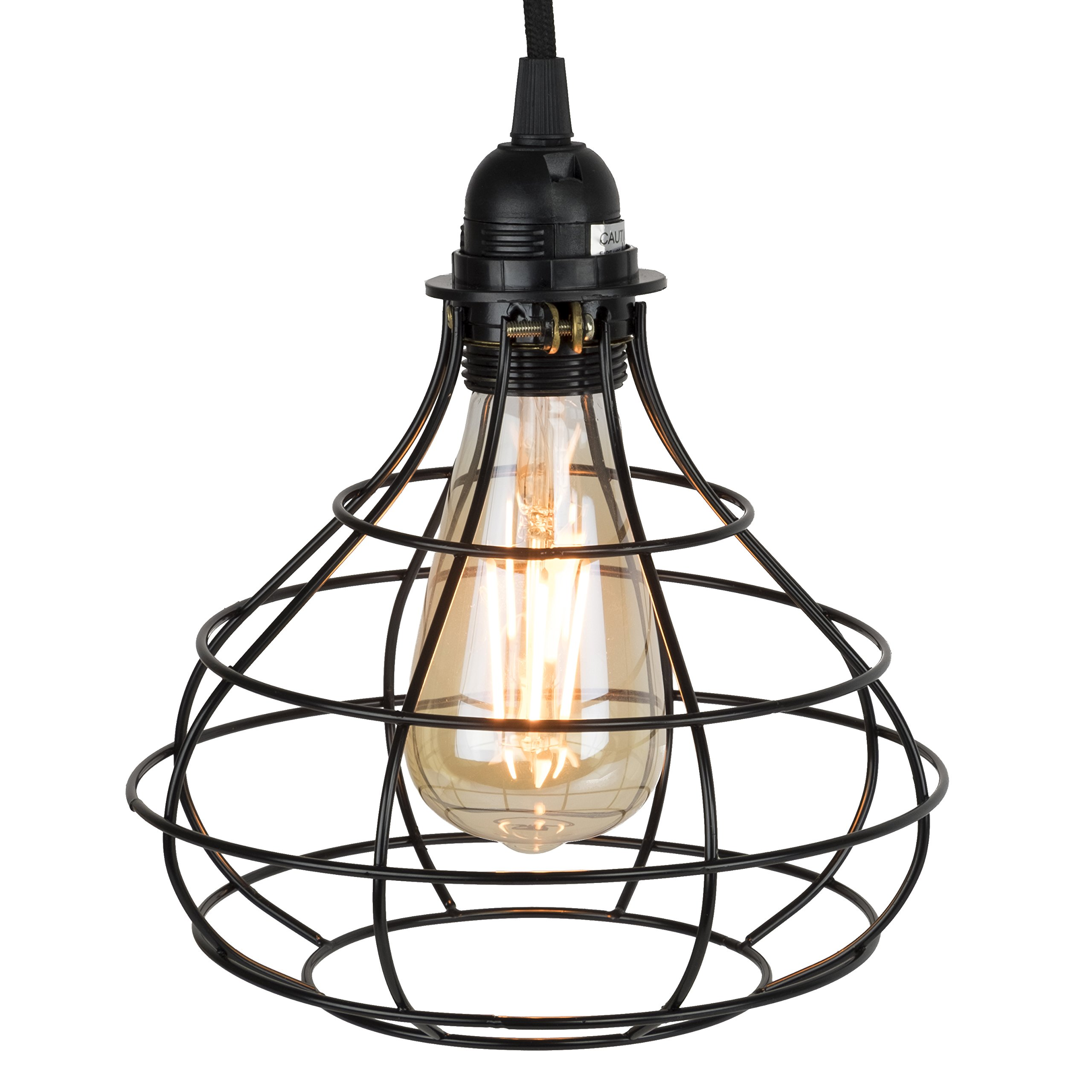 Industrial Cage Pendant Light with 15' Black Fabric Plug-in Cord and Toggle Switch Includes Edison LED Bulb in Black