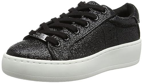 20a8dda265e Steve Madden Women s Bertie-c Low-top Sneakers Black (Black Metallic) 7.5  UK  Buy Online at Low Prices in India - Amazon.in
