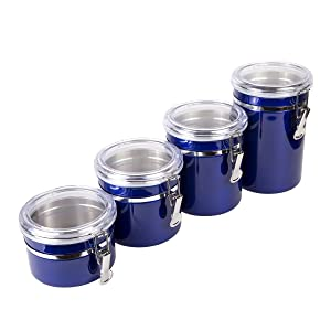 Creative Home 50284 4-Pieces Stainless Steel Canister Container Set 26 oz, 36 oz, 47 oz, 62 oz Metallic Blue