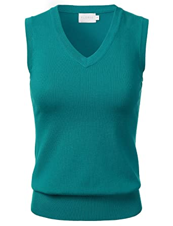 FLORIA Women Solid Clssic V-Neck Sleeveless Pullover Sweater Vest ...