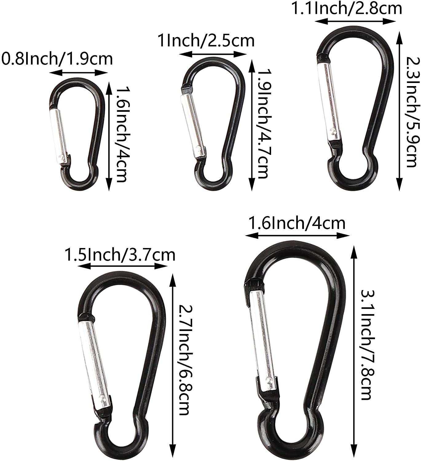 10 Pcs SWATOM Aluminum Alloy Carabiner Clip 1.6//1.9//2.3//2.7//3.1 Inches Spring Snap Hook Keyring Carabiners for Camping Traveling Hiking Keychains Outdoor Accessories Black