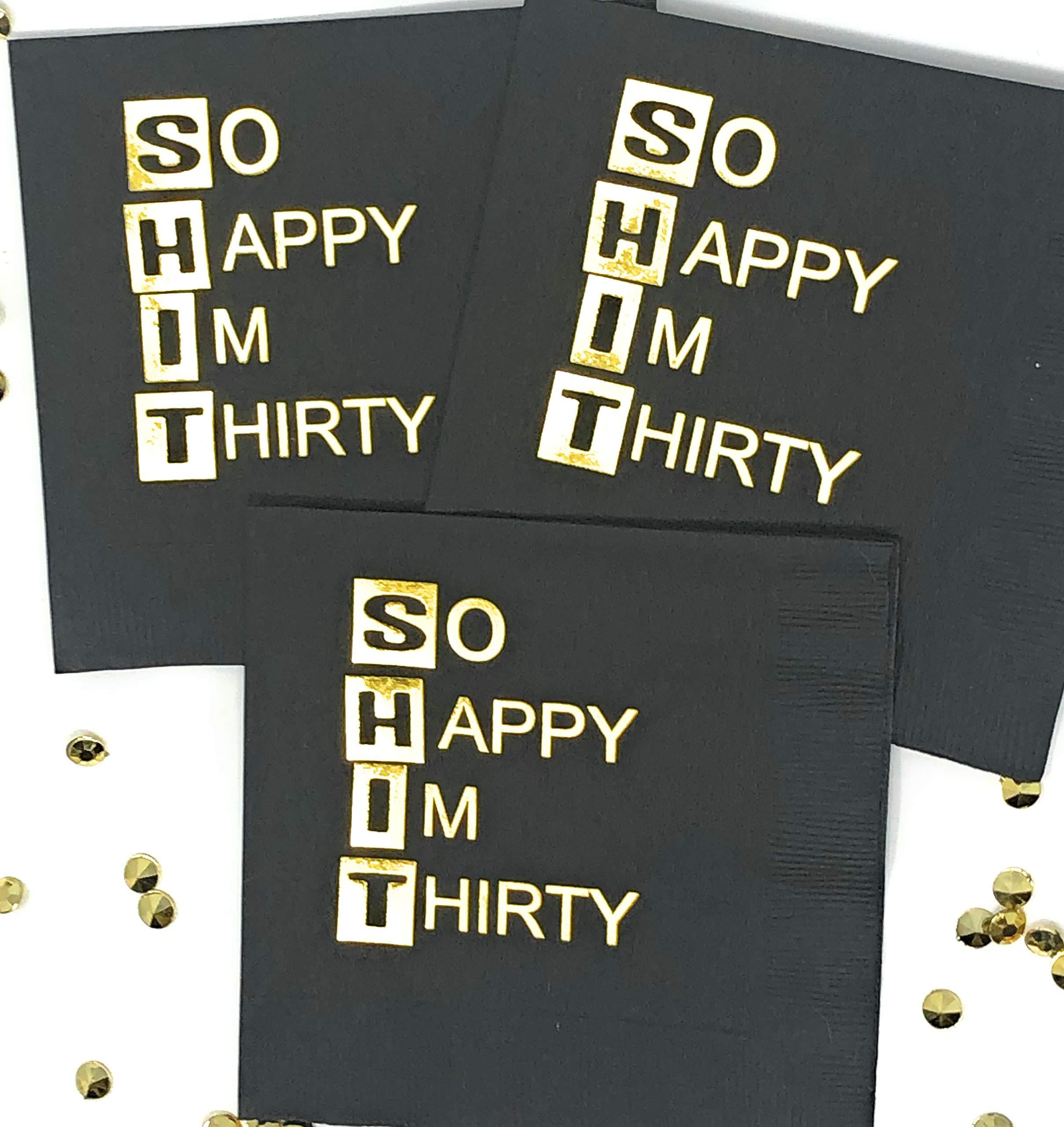 So Happy I'm Thirty Napkins - Set of 25-30th Birthday Beverage Napkins by J & B Enterprises