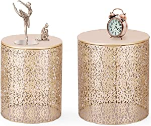 Joveco End Tables Set of 2- Golden Side Tables Elegant Coffee Table Nightstands Stools- Accent Nesting Side Tables for Living Room Bedroom and Entryway