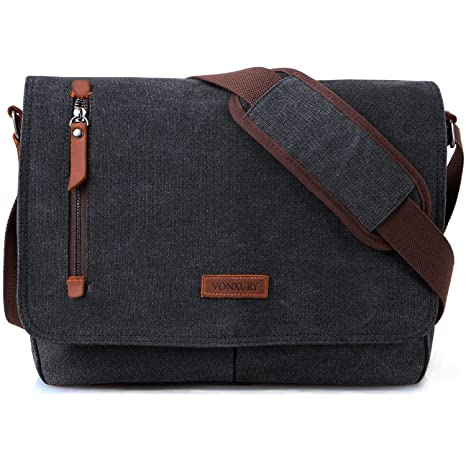 006e1e9be259 Amazon.com: 14 Inch Laptop Messenger Bag for Men and Women,Canvas Leather Shoulder  Bag for Work School VONXURY: Computers & Accessories