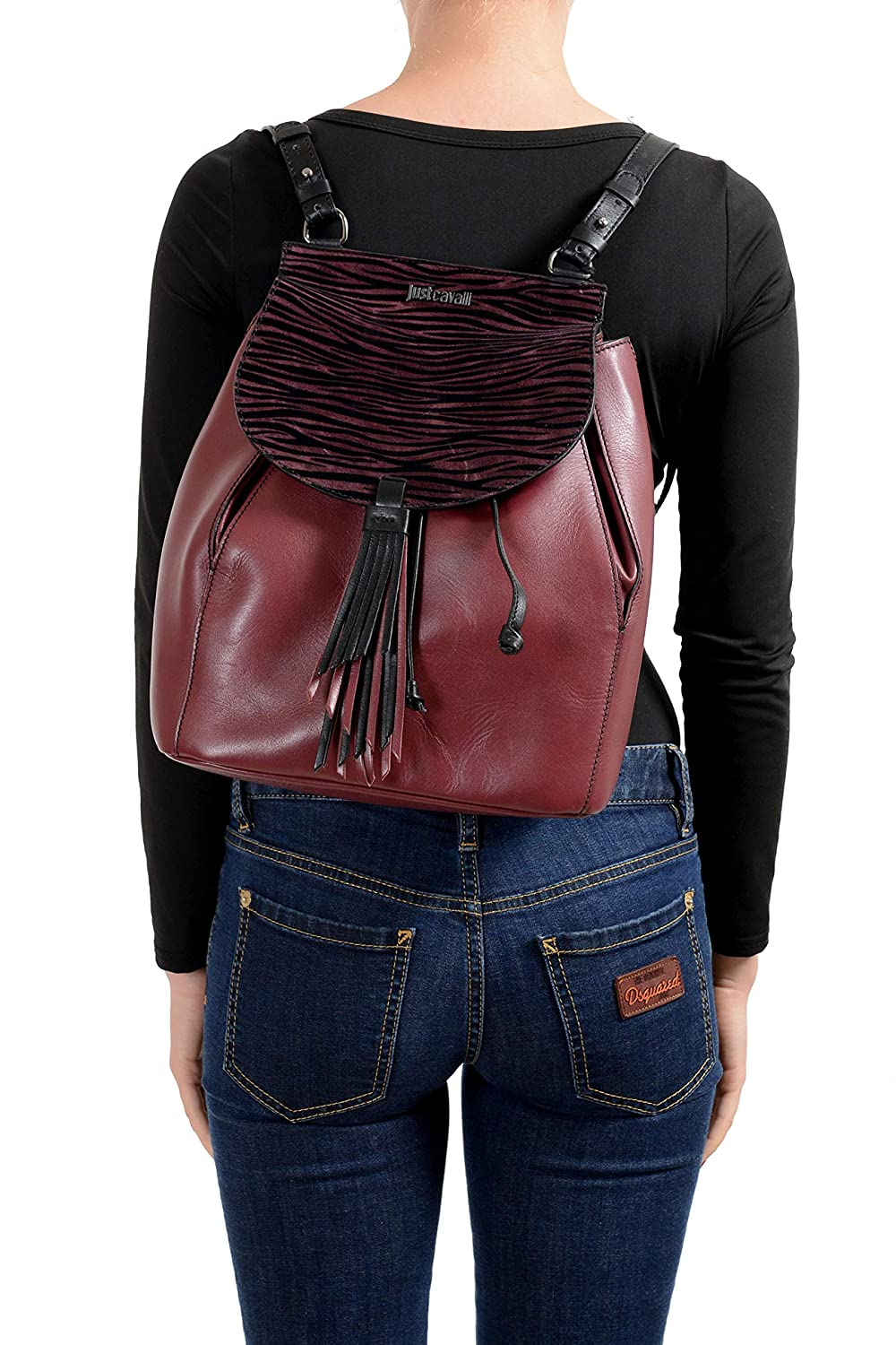Just Cavalli 100/% Leather Multi-Color Womens Backpack