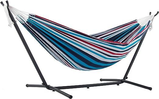 Vivere UHSDO8-12 - Hamaca con soporte incluido, multicolor, 250 cm, doble, diseño Vasquera: Amazon.es: Jardín