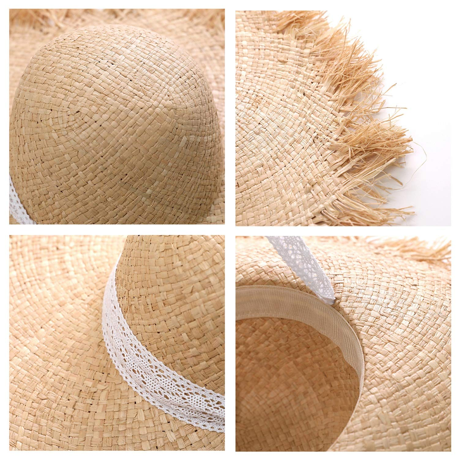 Straw hat Bow Wide Grass Female Summer Cap Beach Visor Outdoor Holiday Beach Sun Protection hat Collapsible