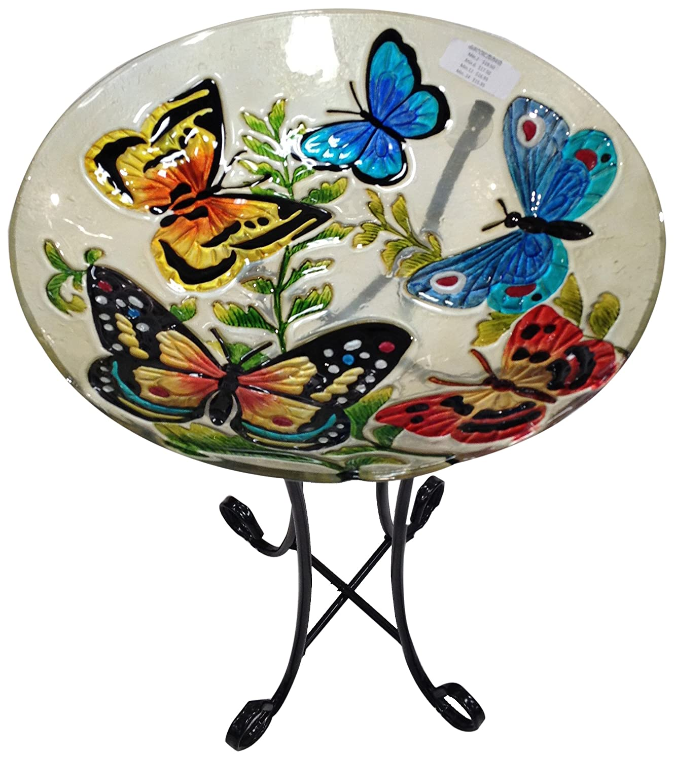 Continental Art Centre CAC2609450 Deep Hand Painted Glass Plate, 46cm by 7.6cm, Butterflies