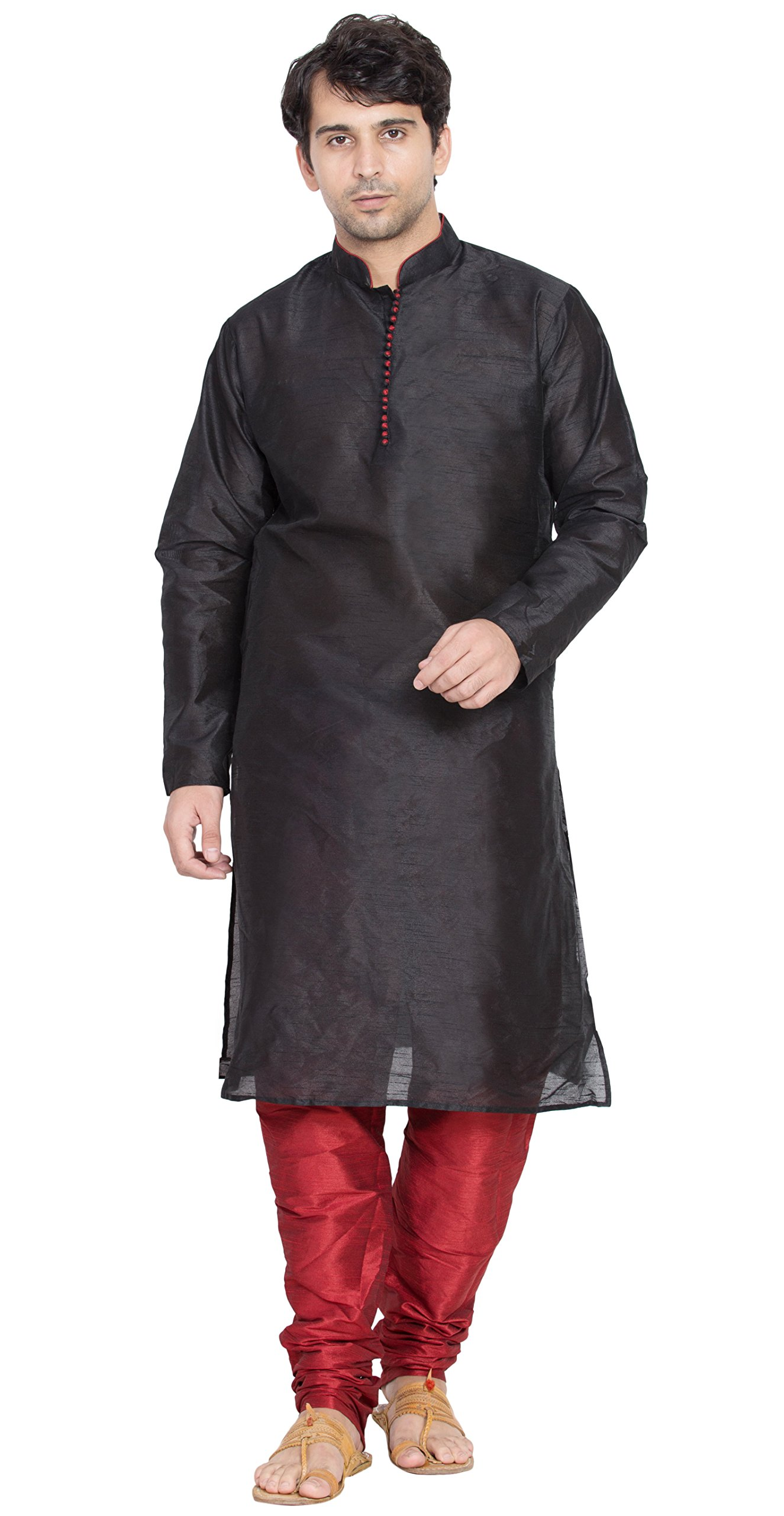 Black Kurta Pajama Indian Ethnic Long Sleeve Shirt Fashion Dress Casual Summer Clothing -XL