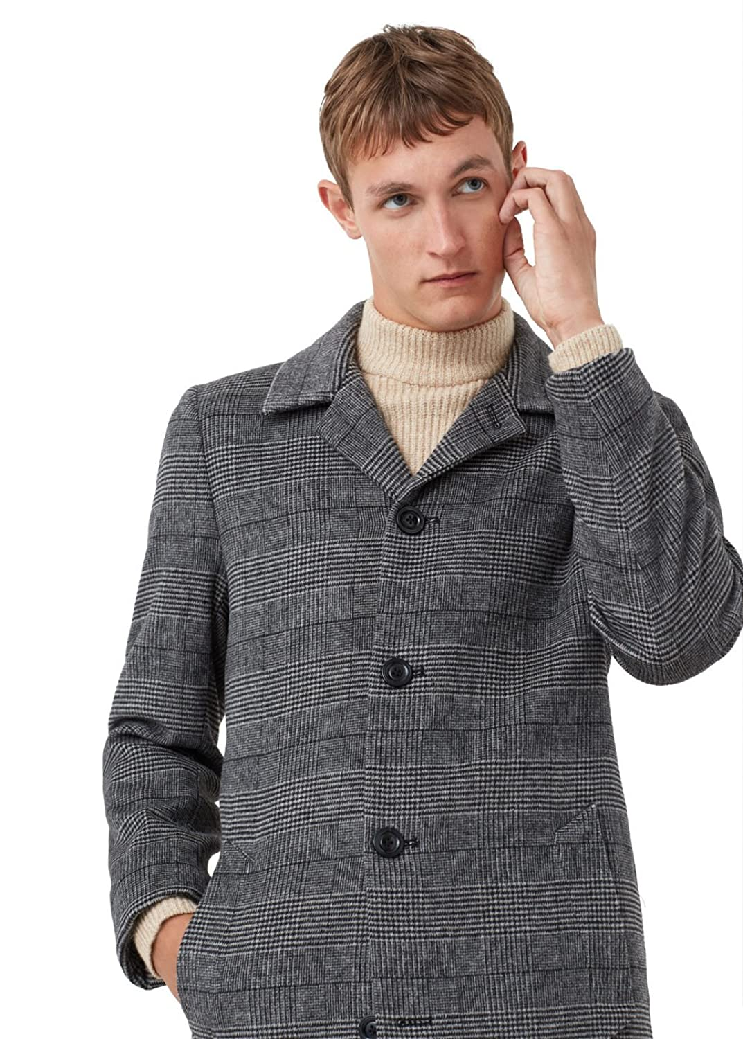 MANGO MAN - Prince of wales wool-blend coat - Size:XXL - Color:Grey