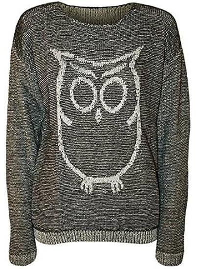 c4da57e2a188 Friendz Trendz -Women Owl Printed Round Neckline Knitted Sweater Jumper   Amazon.ca  Clothing   Accessories