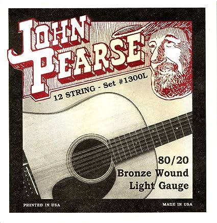 John Pearse P1300L - Juego de cuerdas para guitarra de bronce, 12 ...
