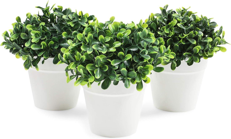 Mini Artificial Plants in White Pots, Home Decor (5 x 5.2 in, 3 Pack)