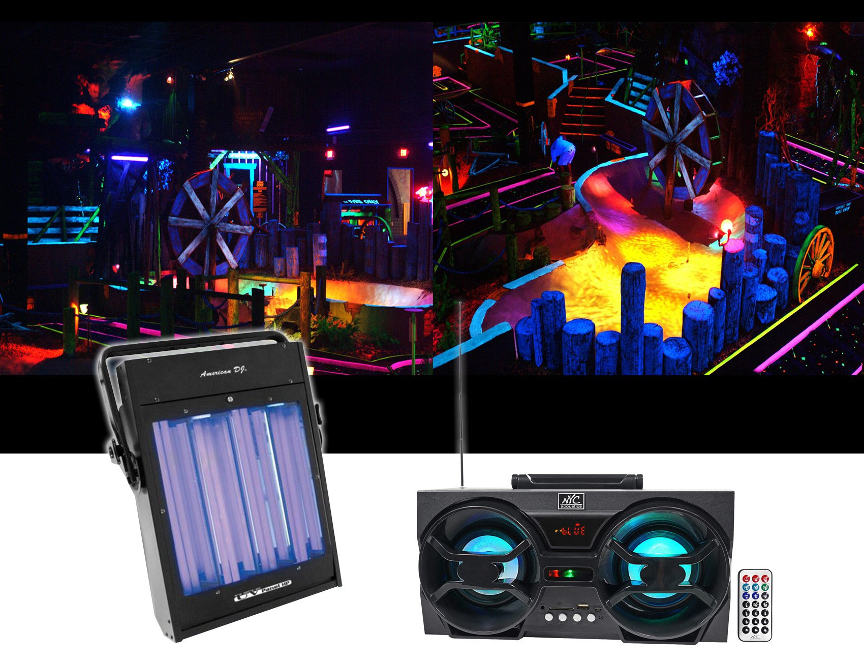 American DJ UV Panel HP 160 Watt Blacklight Wash Light Fixture + Free Speaker !