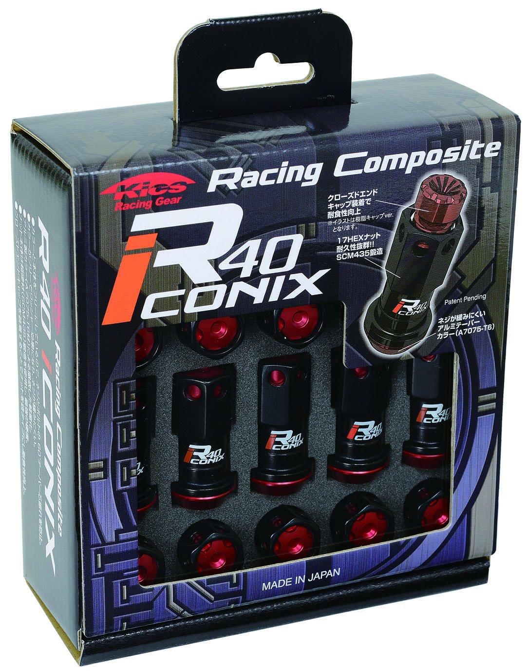 KYO-EI (協永産業) ホイールナット Racing Composite R40 iCONIX 【 M12 x P1.25 】 アルミキャップ付 【 ブラック/レッド 】 RIA-03KR B00OYSKEV4レッド