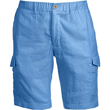 e3a3c7f12b Tommy Bahama Men's Beach Linen 10-Inch Cargo Shorts (Cabana Blue, Small)