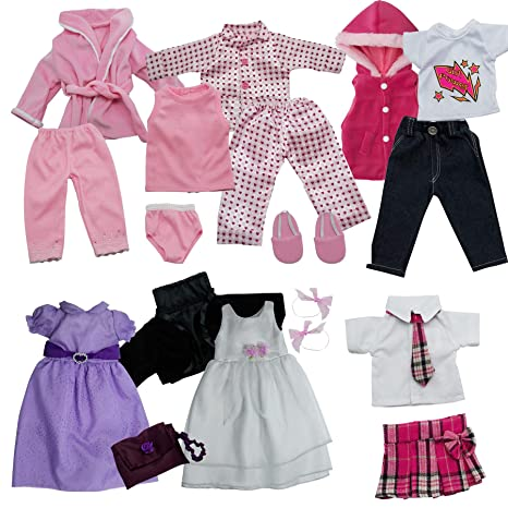 Get Ready Kids 18 pc Doll Clothes Set for 18 Inch Dolls