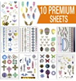 Premium Sheets - Metallic Flash Temporary Tattoos - Gold and Silver Bling
