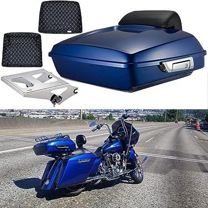 TCT-MT 5 Saddlebags Stretched Extended Hard Saddle bags Trunk For Harley 2014-2019 Touring Road King FLHR Electra Road Street Glide Ultra Classic FLHTCU FLTRX FLTRXS FLHX FLHXS FLHTK Black 2018 2017