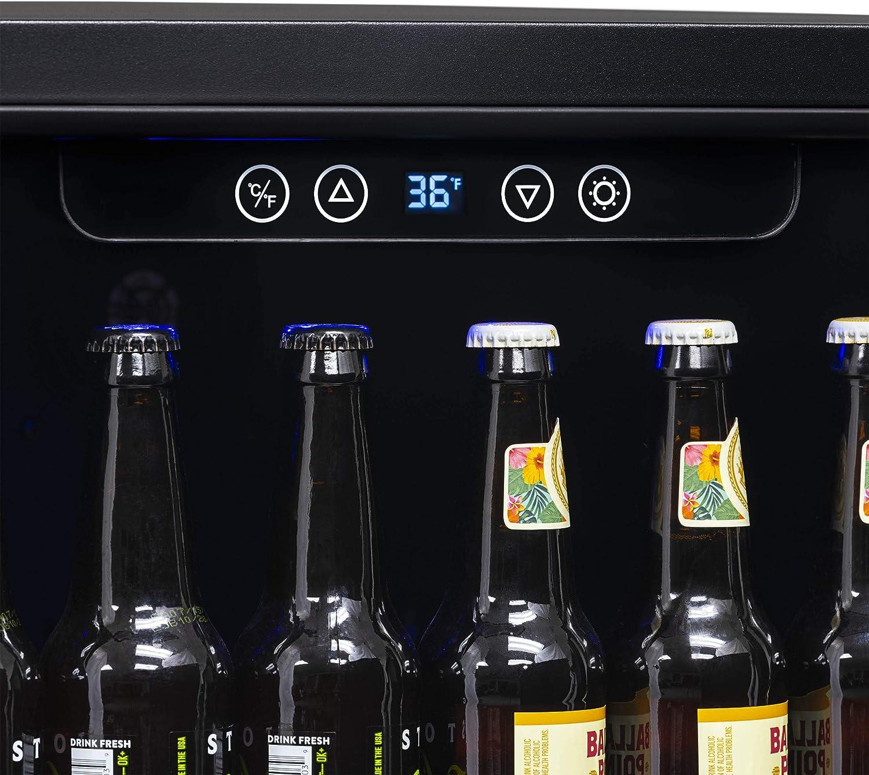 NBC177BS00 Black Stainless Steel NewAir Beverage Refrigerator Built in Cooler with 177 Can Capacity Soda Beer Fridge