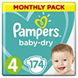 Pampers - Baby Dry - Diapers Size 4 (9-14/8-16 kg) - 1 Month Pack, 174 diapers