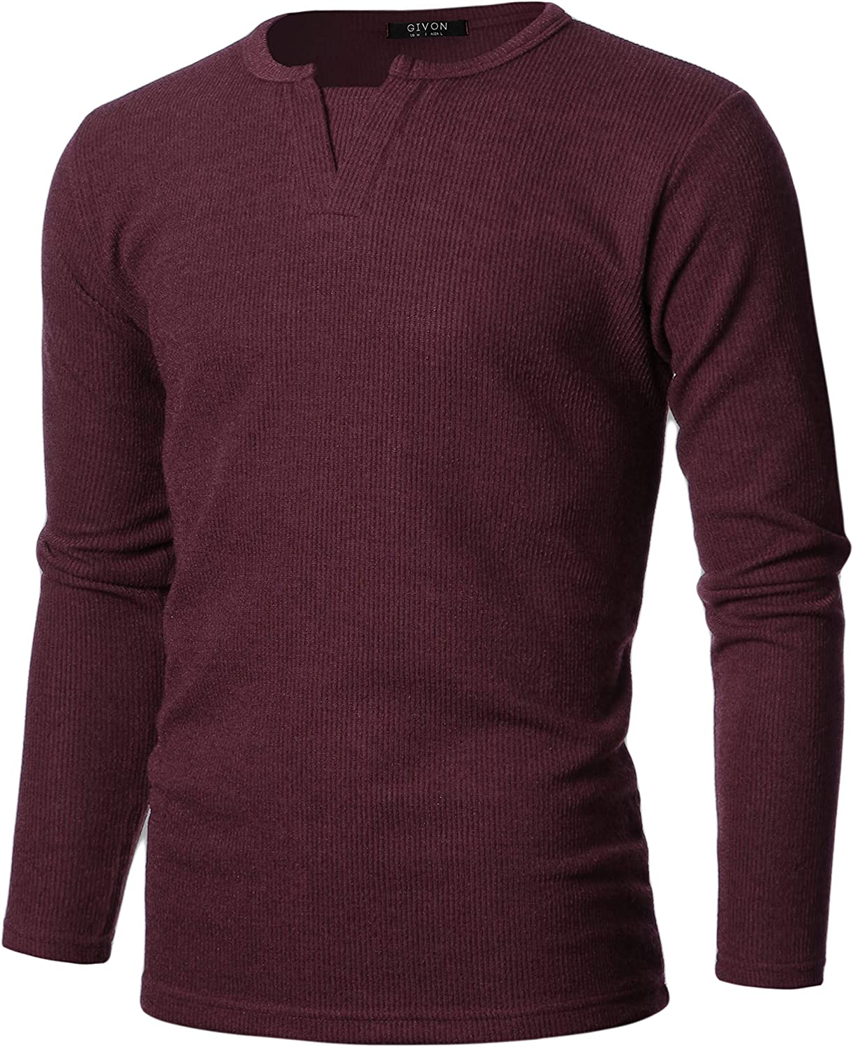 GIVON Mens Slim Fit Long Sleeve Soft Blend Henley Y-Neck Pullover Sweater