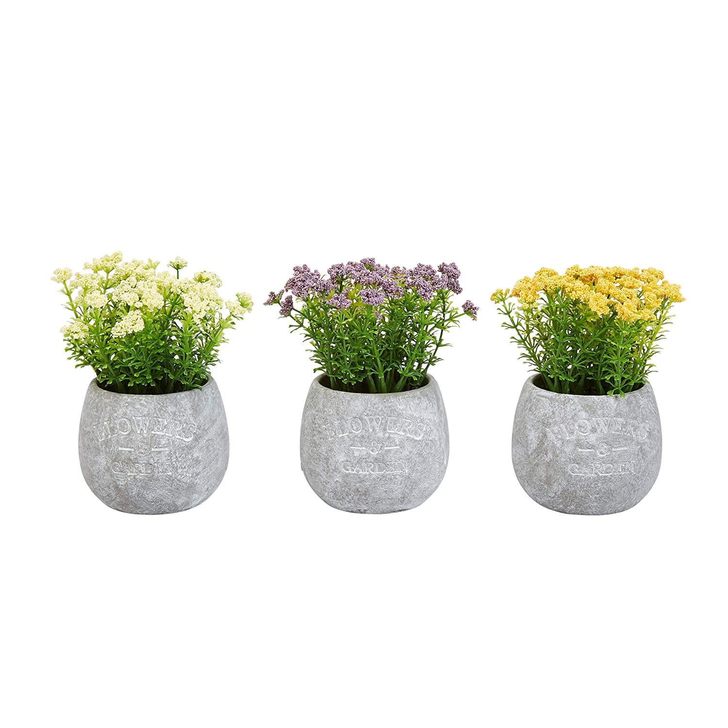 """Pure Garden Faux Flowers-3-Piece Assorted Natural Lifelike Floral 6.25"""" Tall Arrangements and Imitation Greenery in Vases for Home or Office Décor"""