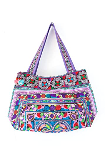 Amazon.com: Candy Bird Hill Tribe bolsa Hmong tela bordada ...