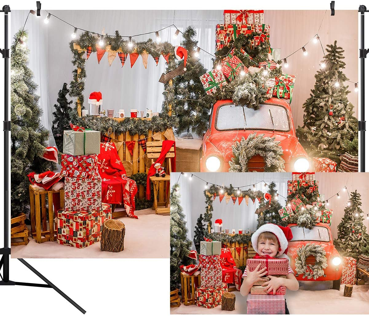 OUYIDA Christmas Photography Backdrop Snowflake Gold Glitter Xmas Floor Background Christmas Tree Gift Decoration for Kids Portrait Photo Studio Booth Photographer Prop 9X6FT CEM35B