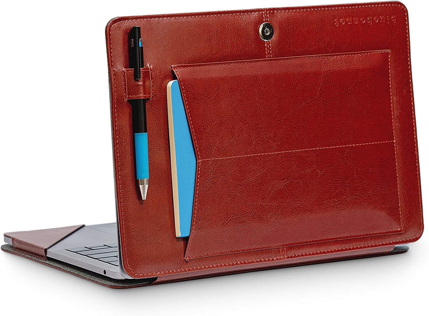 """Bluebonnet Leather MacBook 13"""" Pro & Air Case - 2016 2017 2018 2019 Release for A1932 A1706 A1708 A1989 A2159 A2179 with Exterior Pocket, Pen Holder, Magnetic Clasp Closure and Kickstand (Brown)"""