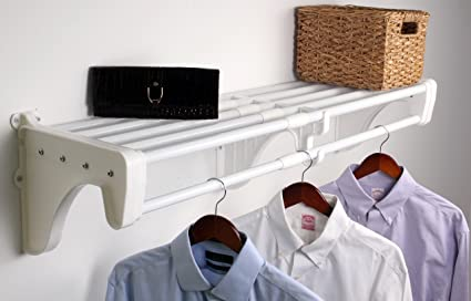 EZ Shelf   28u0026quot;   50u0026quot; Expandable Closet Shelf U0026 Rod ...