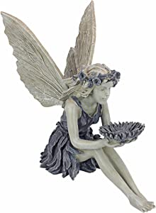 Design Toscano EU41620 The Sunflower Fairy Garden Statue Bird Feeder, 20 Inch, Two Tone Stone