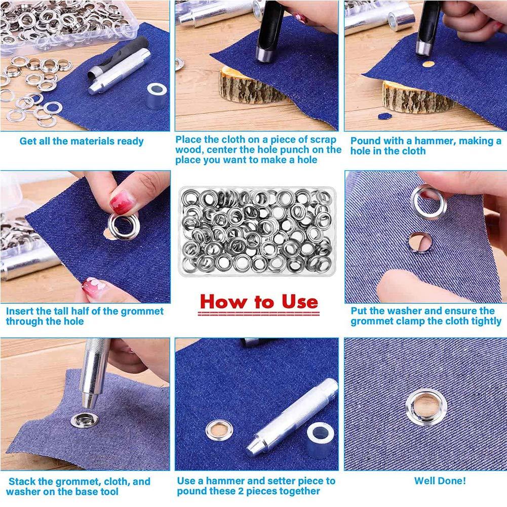 Juego de Herramientas de boquillas Ojal met/álico para Cortina y Accesorios de Ropa con Caja de Almacenamiento Ajuste de boquillas de 12 mm Bclaer72 120 Pares